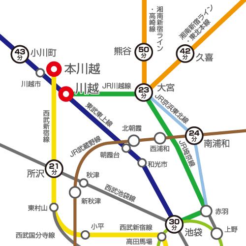 都心からの路線図